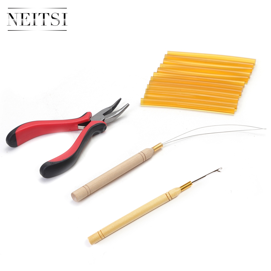 Neitsi High Quality 1pc plier+1pc hook needles+1pc loop puller+12pcs Hotmelt Glue Sticks One Set Hair Tools For Hair Extensions