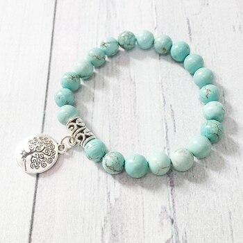 Ruberthen Tree of Life jewelry Yoga Mala Bracelet Stone Healing Protection Elastic Beaded Stacking Bracelet 1