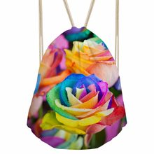 FORUDESIGNS Rainbow Rose Drawstring Bag For Girls Women Lilac Flowers Print Package Bag Cool Travel Shopping Sac a Dot Wholesale(China)