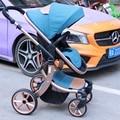 Bebé cochecito paisaje de alta puede sentarse y acostarse cochecito de bebé plegable de dos vías carro