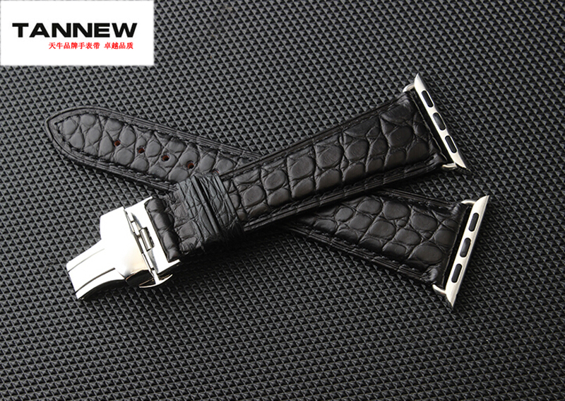 Genuine crocodile leather strap black brown 38 42 mm for Apple watch with leather watchband connector