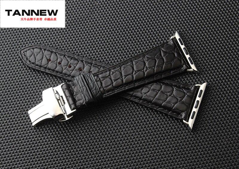 Bracelet en cuir véritable crocodile noir/marron 38/42mm pour montre Apple avec connecteur de bracelet en cuir livraison gratuite-in Bracelets from Montres    1