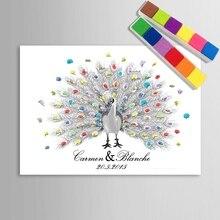 Свадебная Гостевая книга отпечаток пальца живопись свадебные подарки для гостей персонализированные альтернатива Павлин холст печать живопись