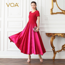 VOA Heavy Silk Pleated Dress Long Party Dresses Women Plus Size 5XL Red Vintage Elegant High Waist Slim Summer Short Sleeve A618