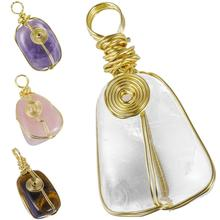 TUMBEELLUWA Gold Tone Wire Wrap Healing Crystal Pendant for Necklace,Reiki Symbol Natural Irregular Gem stone Handmade Jewelry