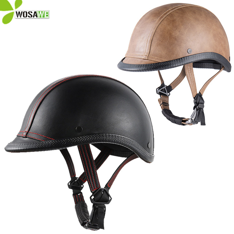 Smooth PU Leather Layer Bicycle Helmets Racing Riding Protective Gear Head Protector Motorbike Unisex 52-58cm Motorcycle Hats
