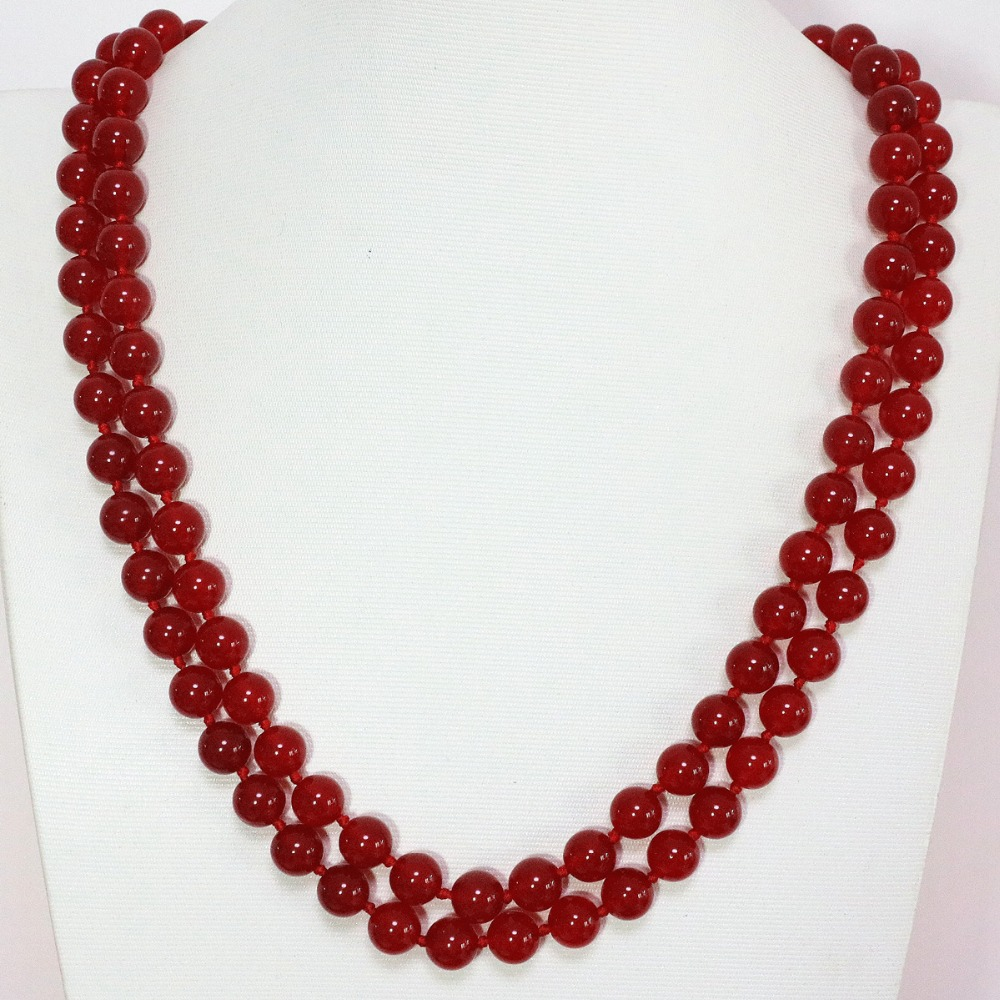 Chain Necklaces Fashion Red Jades Round Beautiful Beads Necklace 8,10,12mm Natural Stone Chalcedony Charms Long Chain Jewelry 36inch B1446