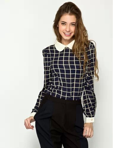 752c6d9abcfe8f Women Plaid Cute Ivory Peter Pan Collar Long Sleeve Navy Blue Pullover  Chiffon Blouse Button Back Ladies Casual Top 219960 XL