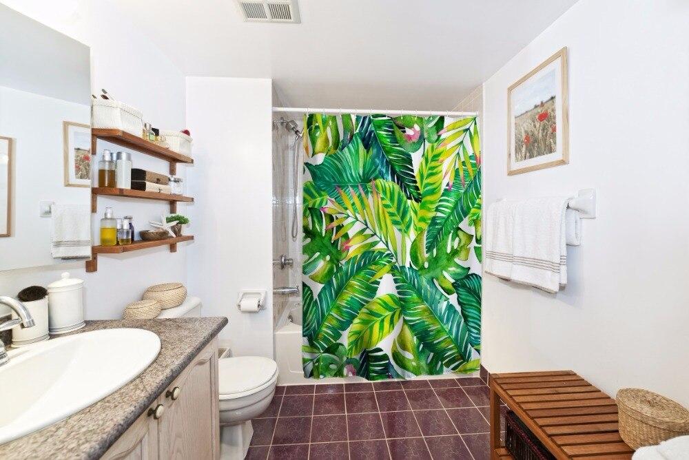 Banana bladeren schilderen waterdicht douchegordijn polyester