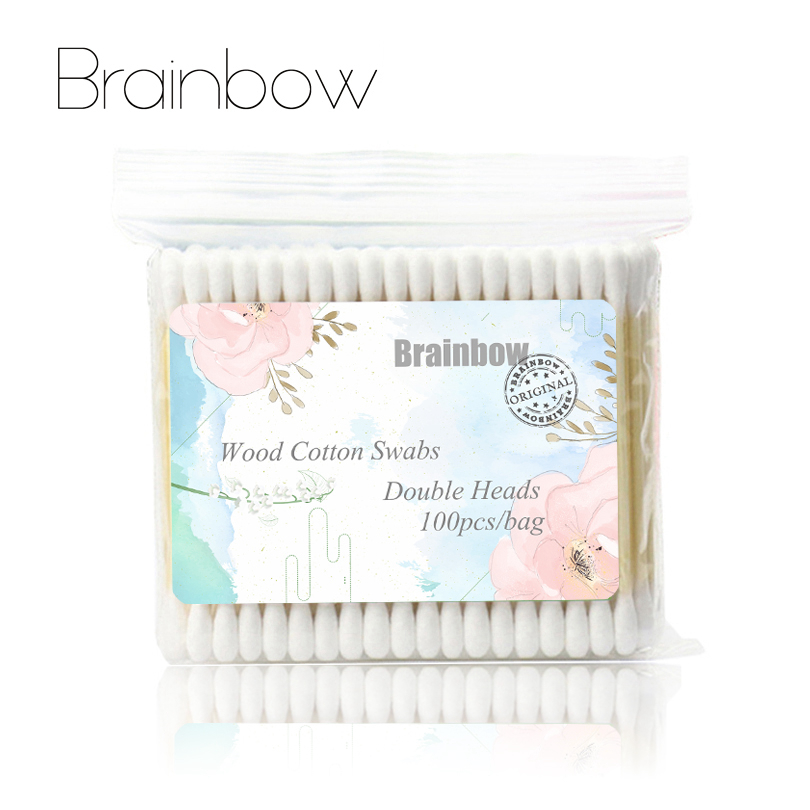 Brainbow 300pc(3pack)Double Head Cotton Swab Makeup Cotton Buds Tip For Medical Wood Sticks Nose Ears Cleaning Health Care Tools