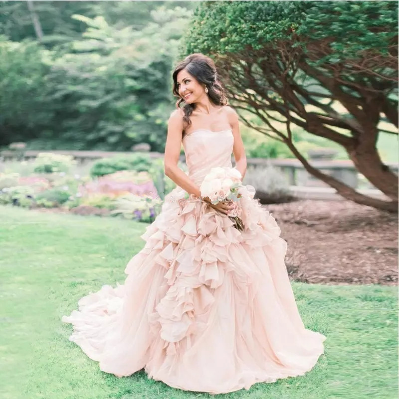 Pink Tulle Wedding Gown: Elegant Strapless Ball Gown Wedding Dresses Ruffle Tulle