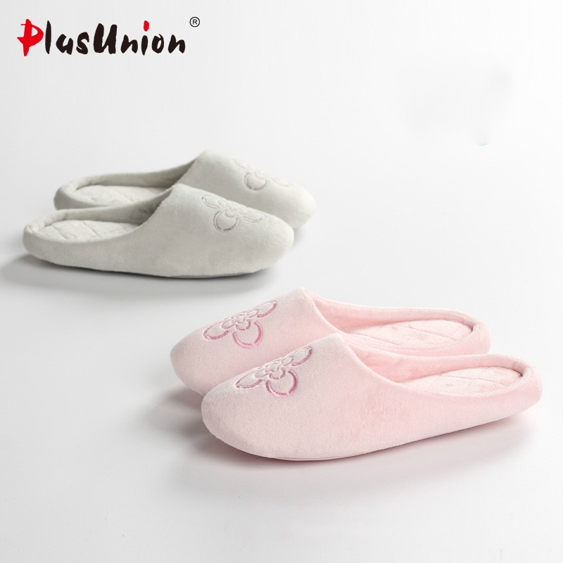 new fashion floral indoor slippers home winter women furry design fluffy flowers pink ladies slipper autumn house adult shoes