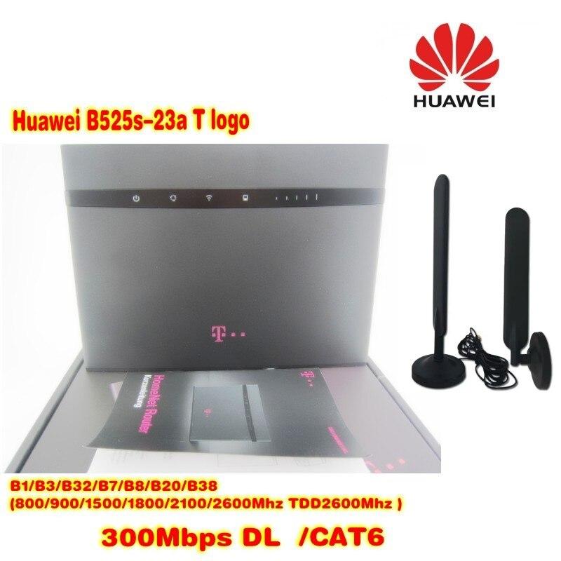300 M Desbloqueado Huawei B525 T logotipo 4G LTE Router WLAN + 2 pcs antena