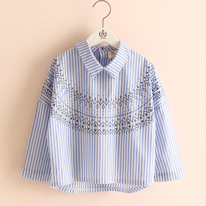 Girls Blouse Shirt 2018 Autumn Stripe Kids Girls Shirts Long Sleeve Printing Blouses For Girls Fashion Kids Clothes 2433W kids stripe outfits for teenage girls long sleeve clothes sets girls school shirts
