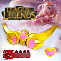 LOL Sona Valentine Sweet heart Zheng Cosplay Weapon Accessaries Free Shipping + Hair Dress