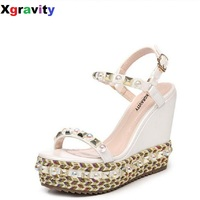 Hot Drop Shipping Lady Fashion High Heel Gold Wedge Sandals Elegant Pearl Rivets Design Lady Fashion