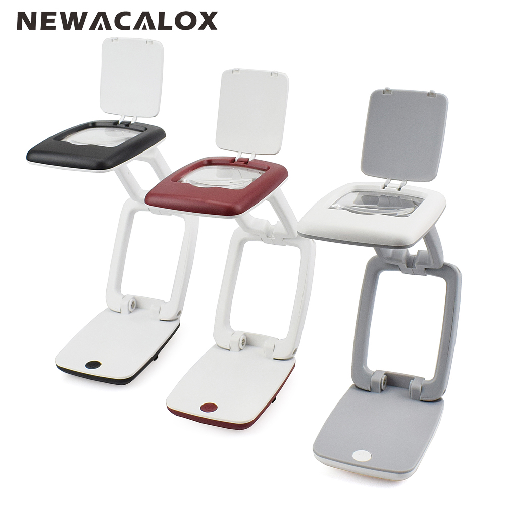 NEWACALOX 3X Portable LED Foldable Travel Desk Lamp Magnifying Glass USB Battery Powered Lens Illuminated Magnifier for Reading