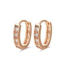 Золотого цвета CC обруч женские серьги Bijoux Brinco Кристалл циркония модные серьги обручи 14E18K-53