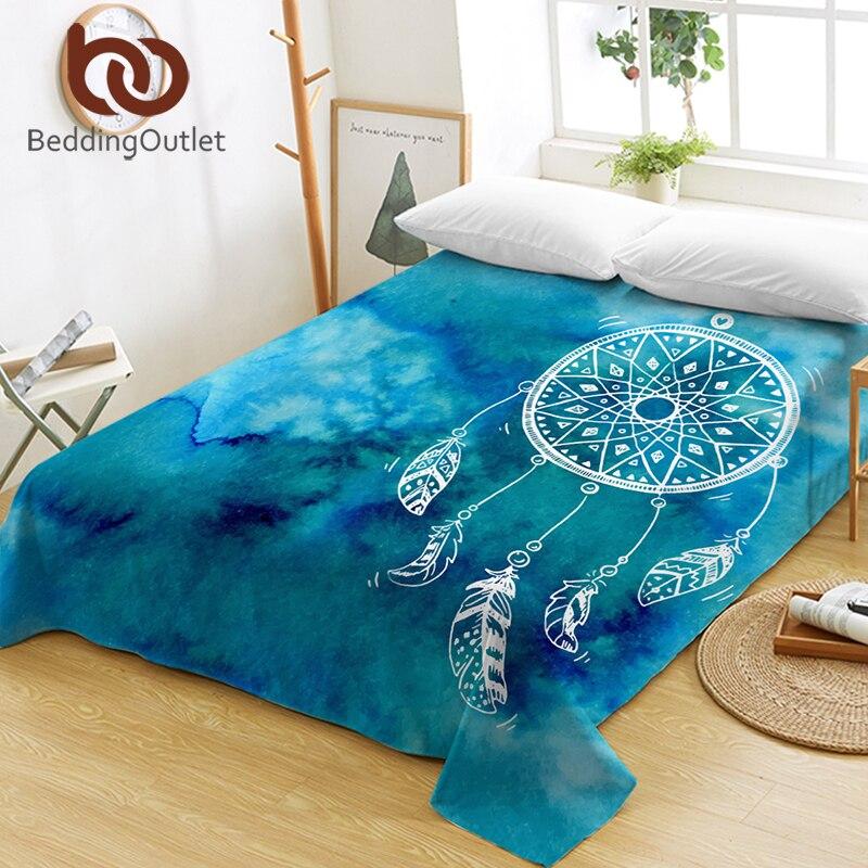 BeddingOutlet Watercolor Dreamcatcher Bed Sheets One Piece Purple Blue Pink Flat Sheet Soft Bed Linen Bohemian Tapestry sabanas 1
