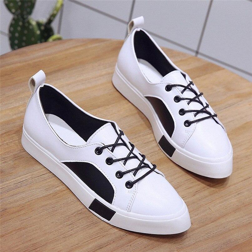 Respirant Bout 2018 Casual Arrivée blanc Talon Femmes Plat Noir Zapatos Mujer Mode Y Pointu Lacent De rouge Chaussures Nouvelle w88Er0
