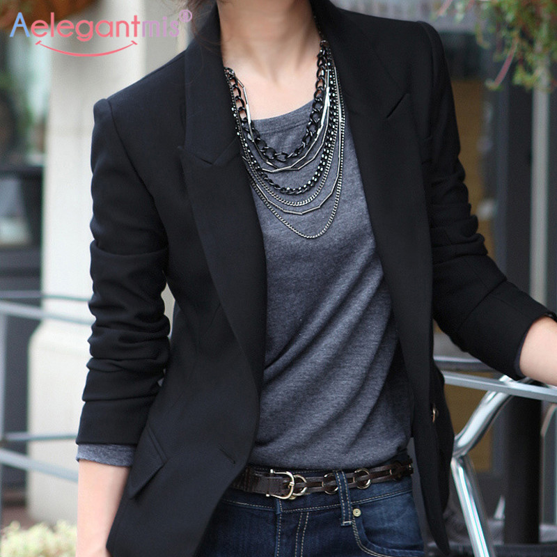Aelegantmis Autumn Winter Slim Blazers Women Single Button Notched Blazers Black Plus Size Office Lady Work Suit Jacket #3