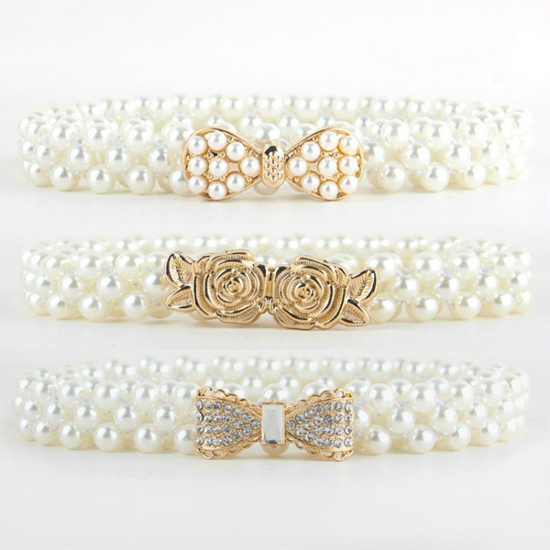 Elegant Women Pearl Crystal Belt Waist Flower Elastic Buckle Chain Cummerbunds  Female Girls Dress Crystal Strap Waistband Gift