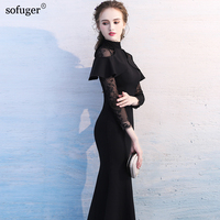 New arrival 2018 Floor Length Long Sleeve Mermaid High Neck Lace Customized Party Dresses Evening Dresses With Lace Sexy