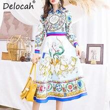 Delocah Autumn Women Dress Runway Fashion Designer Long Sleeve Gorgeous Beading Angel Printed Vintage Slim A-Line Dresses