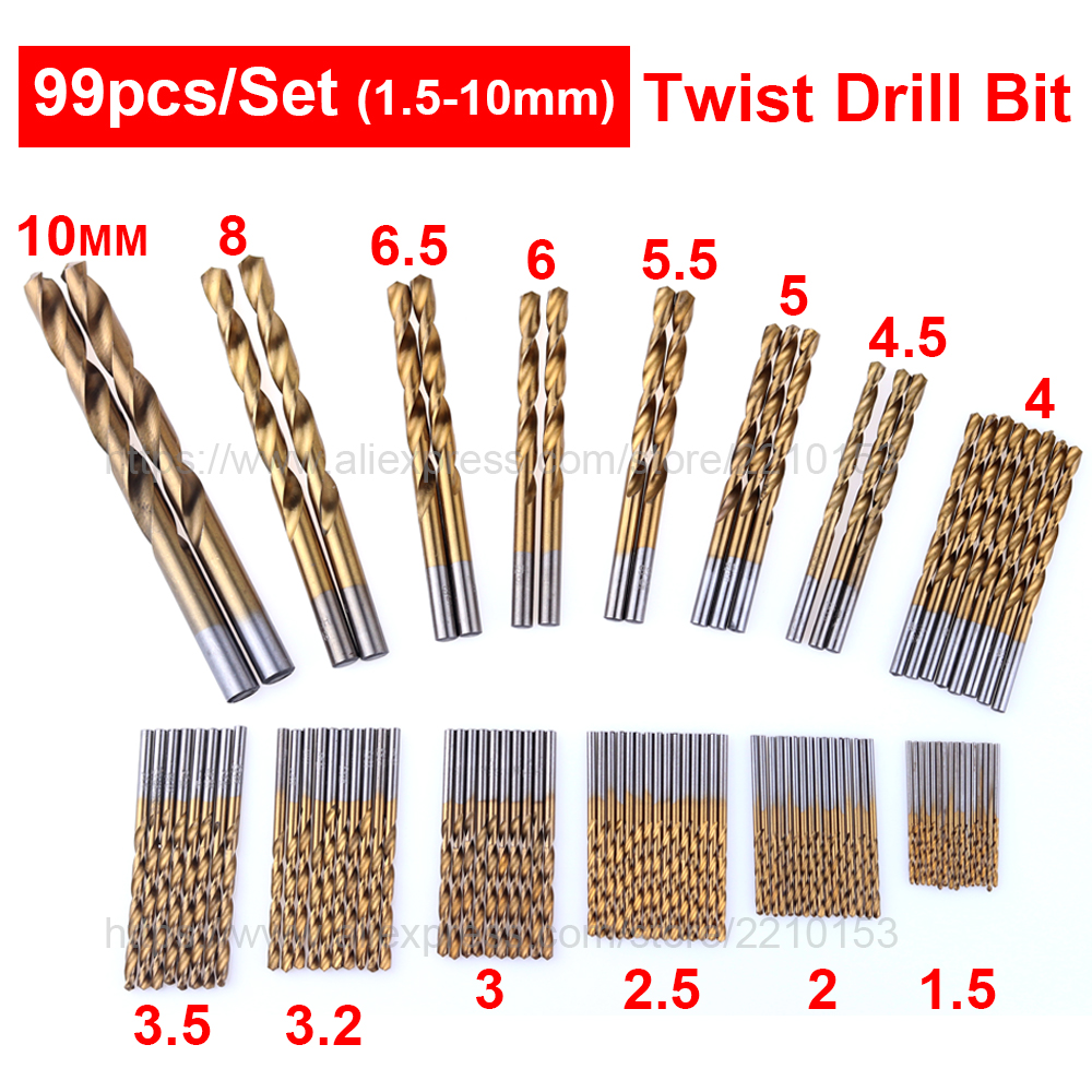 99 Pcs Twist Drill Bit Set HSS High Speed Steel Titanium 1.5mm-10mm Drilling Wood Plastic And Aluminum Power Tools 19pcs hss titanium twist drill bit set high speed steel straight round shank 1 10mm durable power tools for metal drilling