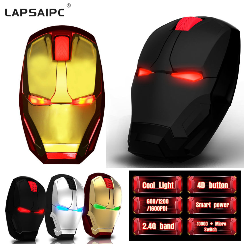 Lapsaipc Iron Man Mouse Wireless Wi-Fi Mouse Gaming Mouse Gamer Mute Button Silent Click 800/ 2400DPI Adjustable Computer Mice