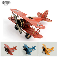 3 Colors Vintage Metal Plane Model European Ornaments Iron Retro Aircraft Glider Biplane Airplane Model Figurines