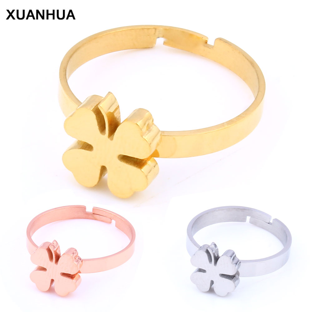 XUANHUA Stainless Steel Rings <font><b>Wholesale</b></font> <font><b>Lots</b></font> <font><b>Bulk</b></font> Clover Ring Wedding Band Fashion Adjustable Ring For Girls Jewelry Accessories image