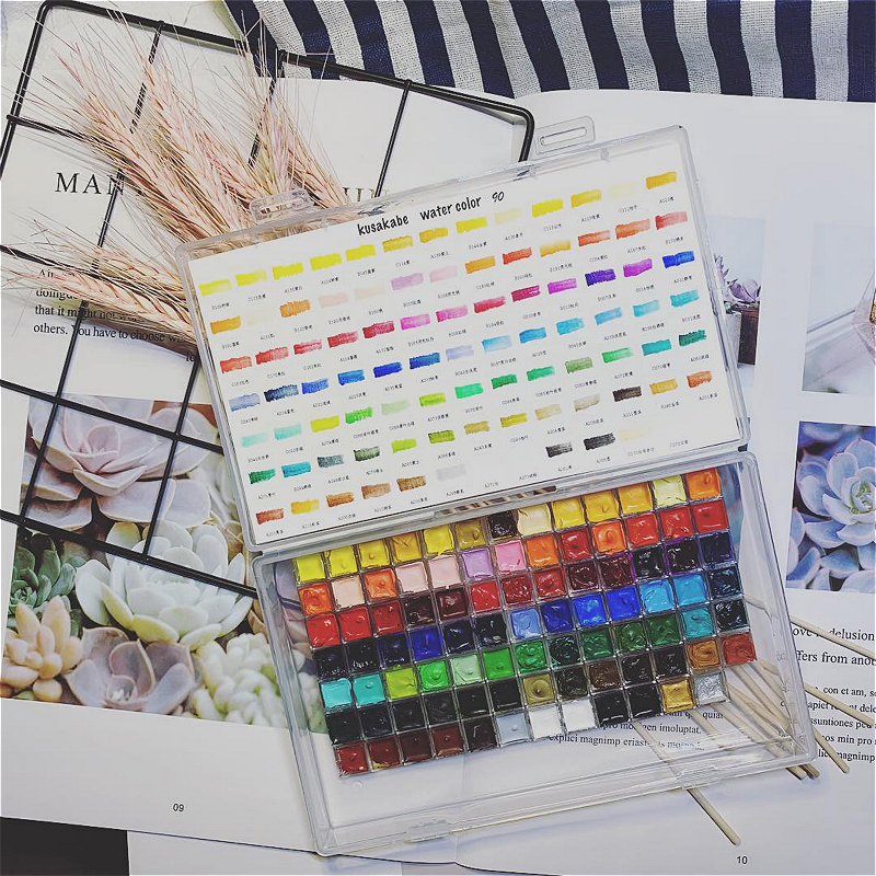 Watercolor Paint Sub-package Kusakabe Japanese Ancient Watercolor 90 Colors Solid Watercolor Macaron Color Candy Color