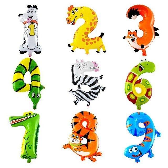 0-9 номер Животные мультфильм 16 дюймов Майларовый шар, для вечеринки, дня рождения шары украшения. количество детей воздух надувные шары