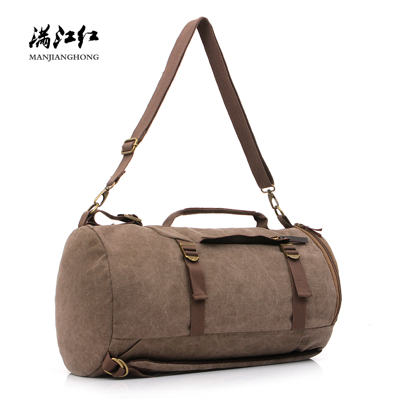 Large Capacity Canvas Travel Duffel Bags Men Fashion Cylinder package Travel Backpack Luggage Bag Male Shoulder Travel Bags 1130 men army men s bags large capacity travel one shoulder backpack tactics chest package travel shoulder bag