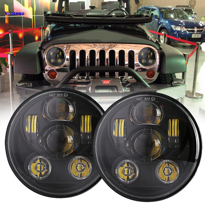 7 45W LED Headlight for Jeep CJ/Wrangler JK 7 Inch Led Driving Light for Land Rover Defender lada niva 4x4 H4 H13 Headlights co light 105w round 7 inch led headlight h4 h13 angel eye hi lo drl 12v 24v for jeep wrangler land rover lada niva 4x4 off road