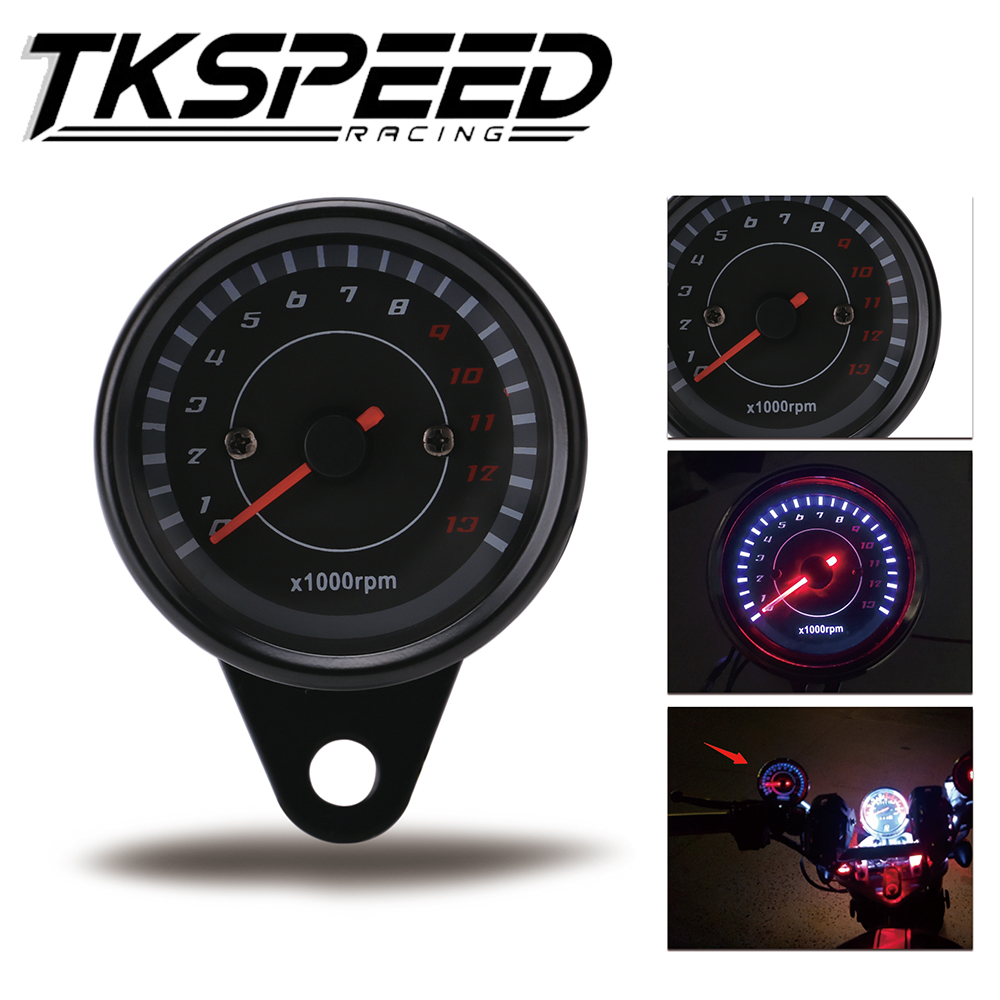 12V Universal Motorcycle Tachometer Tacho Gauge Speedometer With LED Backlight Night Light Motorbike Moto Instrument Accessories