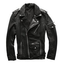 2018 Black Men s Biker Leather Jacket Oblique Zipper Genuine Sheepskin Slim Fit Short Winter Motorcyclist