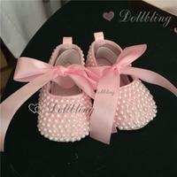 Blush Pink Pearls Pink Club Brides Wedding Formal Espadrilles Satin Ballerina Gorgeous Moccasins Beading Infant Shoes