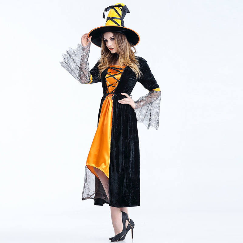 Sexy Witch Costume Deluxe Adult Womens Magic Moment Costume Adult Witch Halloween Fancy Dress New Carnival Evil Cosplay