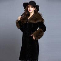 Factory Direct Delivery 100 Natural Fur Coat Sheepskin Genuine Leather Women Cold Mink Gold 2015 Winter