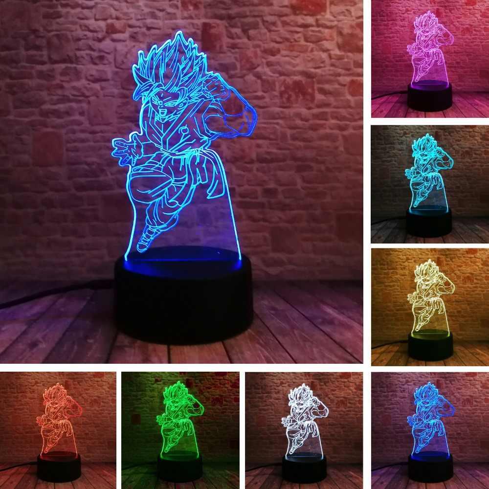 Dragon Ball легенды Супер Saiyan Бог экшен-фигурка Гоку 3D настольная лампа 7 цветов Изменение ночник обувь для мальчиков детские подарки