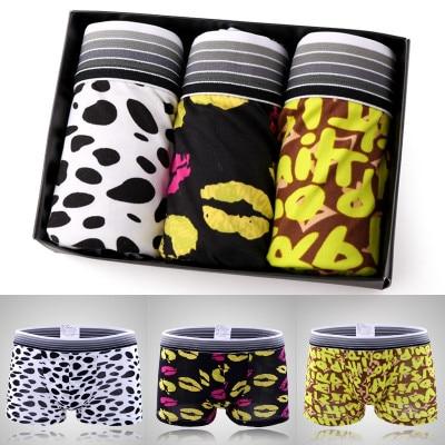 2017 New Arrival 3Pcs/lot gift box set sexy mens shorts trunk low-waist plus size XXL underwears men panties