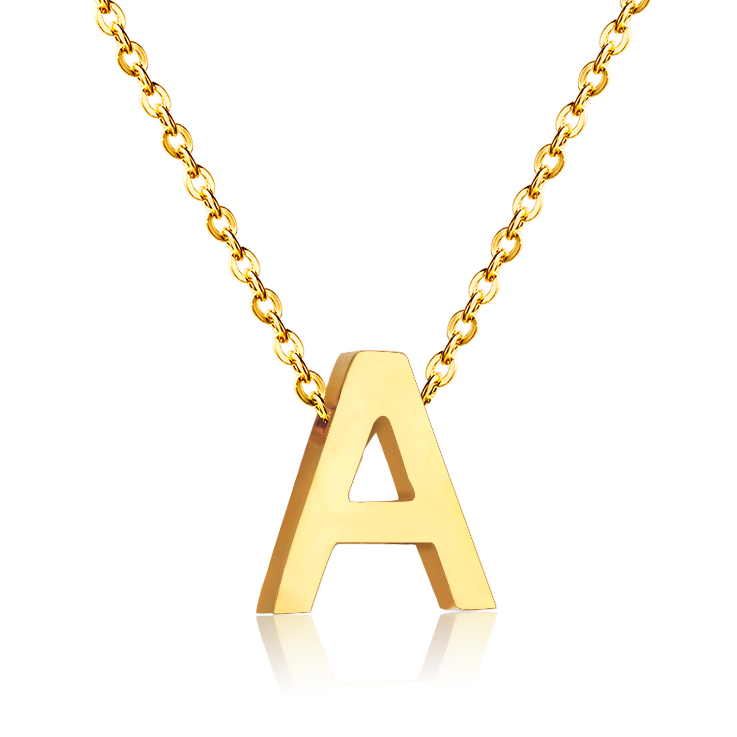 Fashion stainless steel initial necklace silver gold for Custom letter necklace gold