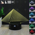 H Y Egyptian pyramid 3D Night Light RGB Changeable Mood Lamp LED Light DC 5V USB Decorative Table Lamp Get a free remote control