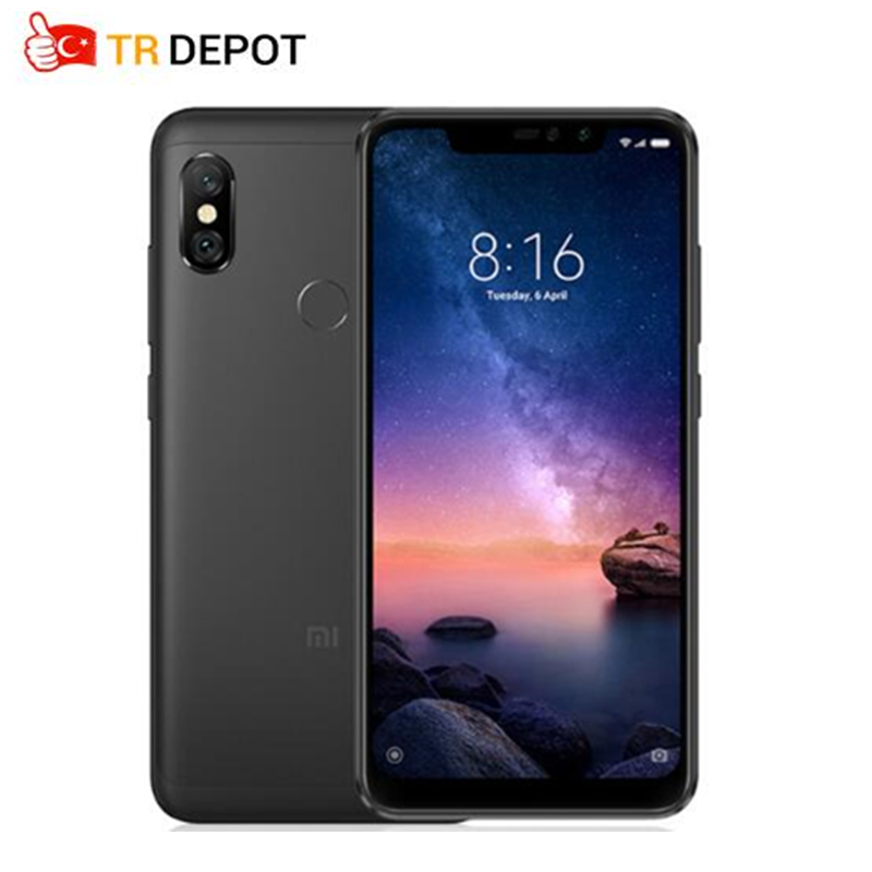 "Global Version Xiaomi Redmi Note 6 Pro Smartphon 4GB 64GB 6.26"" 19:9 Full Screen 2 Front+ 2 Back Cameras Quick Charge Octa Core"