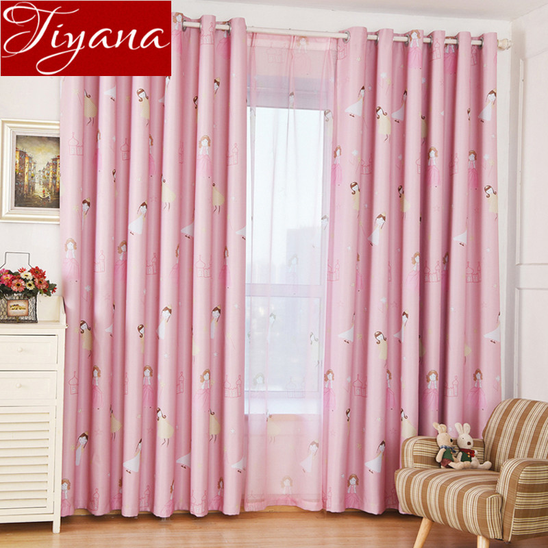 ③Cute Castle Pink Curtains For Living Room Printed Voile Window ...