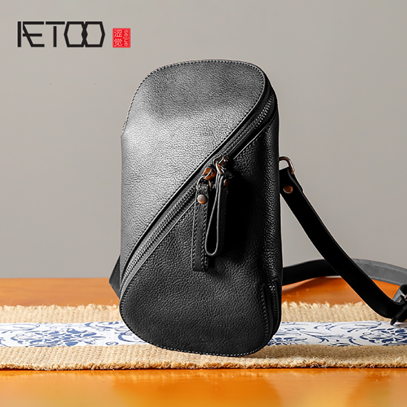 AETOO Handmade Leather Chest Bag Male Casual Mini Oblique Cross Small Bag Retro Men's Head Cowhide Shoulder Bag