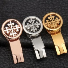 купить 18mm 20mm High Quality 316L Stainless Steel Butterfly Watch Band Buckle Strap Silver Folding Clasp Replacement Accessories дешево