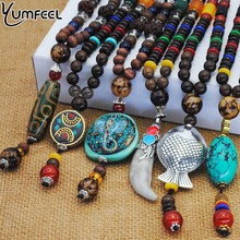 Yumfeel Vintage Ethnic Style Fish Elephant Wood beaded Stone Pendants & Necklaces Statement Nepal Necklace Women Men Jewelry